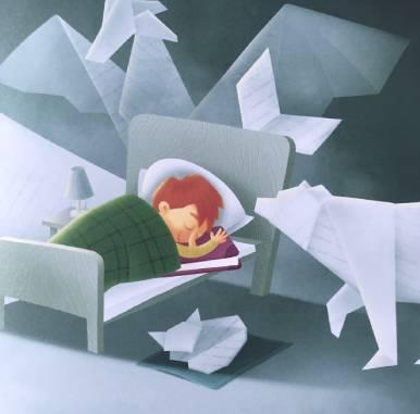 Il giardiniere dei sogni - bambino che si addormenta con un libro sotto il cuscino. Babmbino che sogno