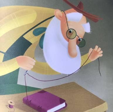 Il giardiniere dei sogni - il giardiniere cuce le pagine creando un libro