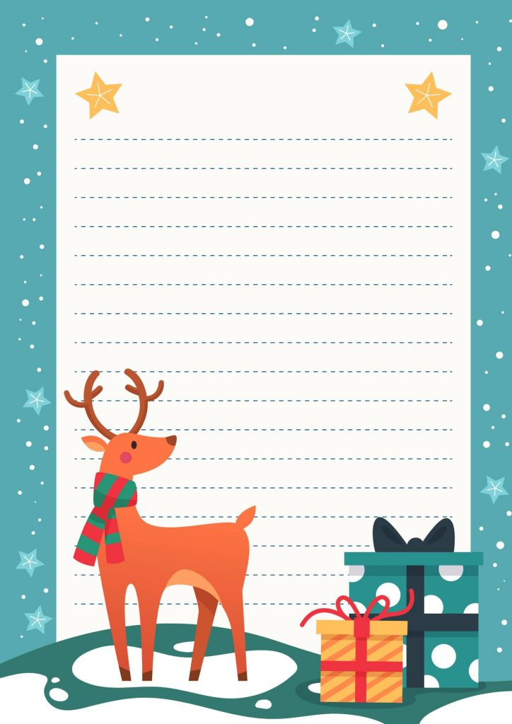 Lettera a di babbo natale con renna e regalo