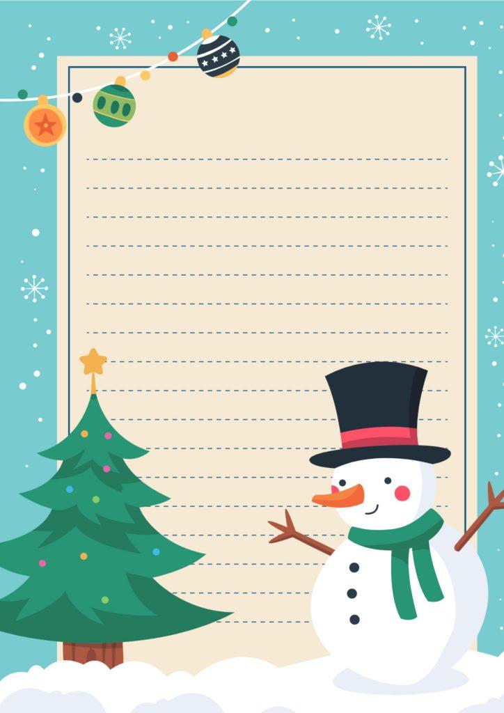 Lettera a babbo natale con pupazzo di neve e albero