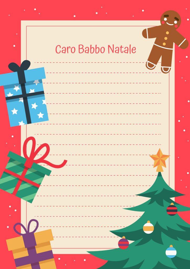 letterina a babbo natale con albero regali e biscotto
