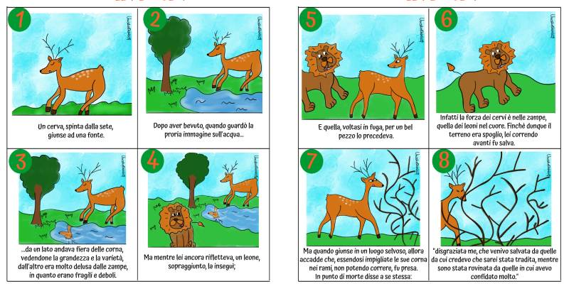 Il cervo e il leone favola di Esopo