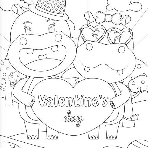 ippopotami con cuore san valentino - la scatola dei giochi