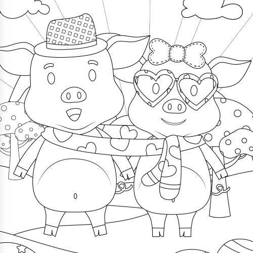 maialini con sciarpa san valentino - la scatola dei giochi