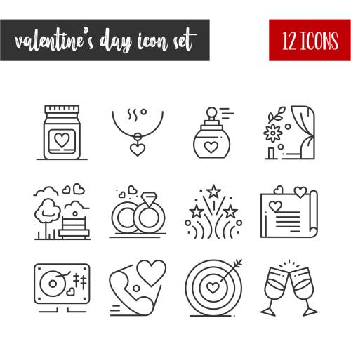 set di icone di san valentino - la scatola dei giochi