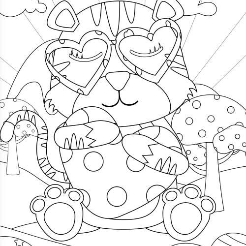 tigre abbraccia un cuore san valentino - la scatola dei giochi