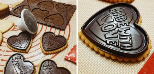 Biscotti simil Oro Ciok per San Valentino  a forma di cuore