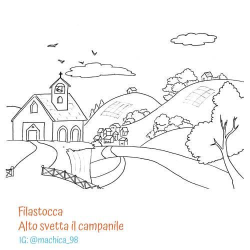 Filastrocca di Pasqua Alto svetta il campanile - Disegni da colorare