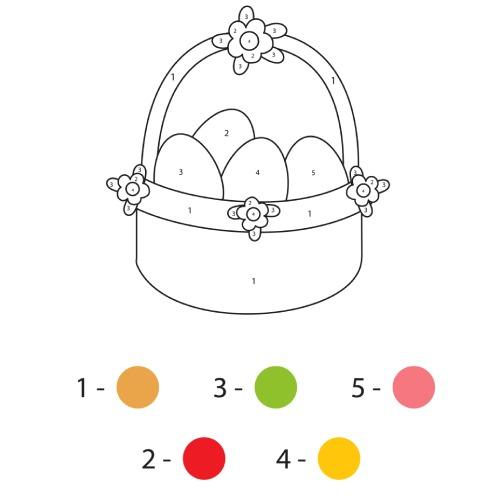 La scatola dei giochi - cesta di pasqua da colorare con colori
