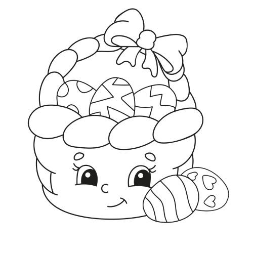 La scatola dei giochi - cesto con ovetto di pasqua da colorare