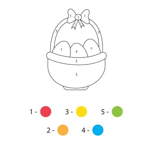 La scatola dei giochi - uovo in cesta di pasqua da colorare con colori